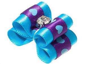 Бантик двойной объемный голубой с сердцами