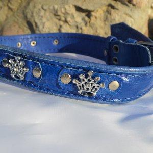 Ошейник 35мм многослойный кожаный со стразами синий