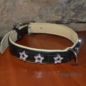 Ошейник кожаный со стразовыми звездами К-4894