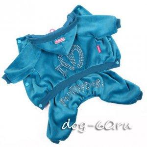 Велюровый костюм бирюзовый с кристаллами