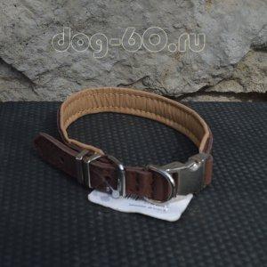 Ошейник с металлическим фастексом кожаный ширина 20 мм