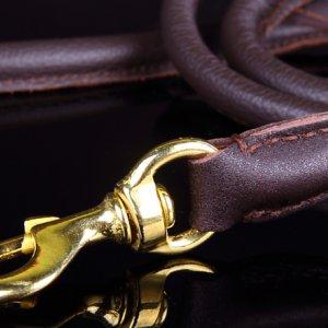 Поводок П842 кожаный круглый фурнитура латунь