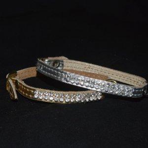 Ошейник двухслойный кожаный Люкс золото или серебро со стразами